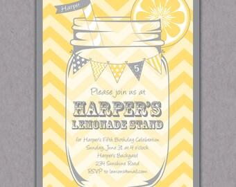 Lemonade Stand Printable Invitation, Lemonade Stand Invitation, Lemonade Birthday Party Invite Bridal Shower, Yellow Grey Chevron Invitation