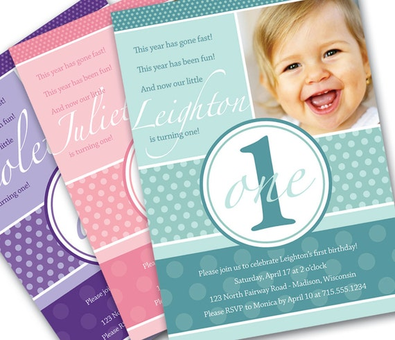 First Birthday Invitation Pretty Dots Custom Photo Printable Invitation - 1 Year Old Girl or Boy - Turqouise, Pink, Purple or Custom Color