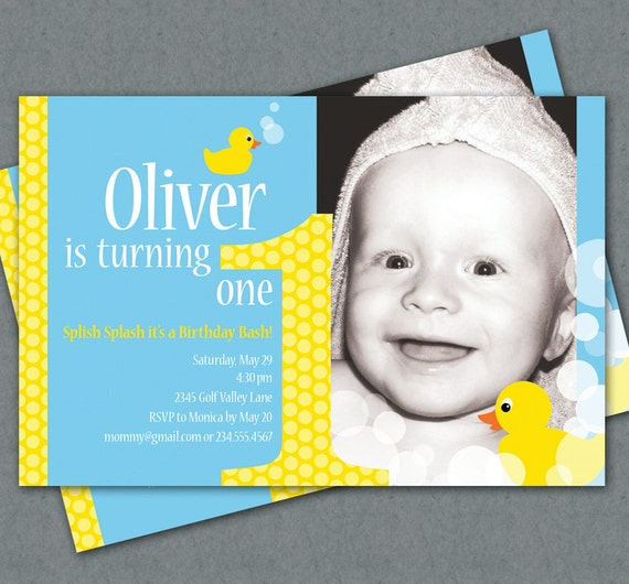 Ducky First Birthday Custom Photo Invitation Printable - Yellow Rubber Duckies - Splish Splash it's a Birthday Bash