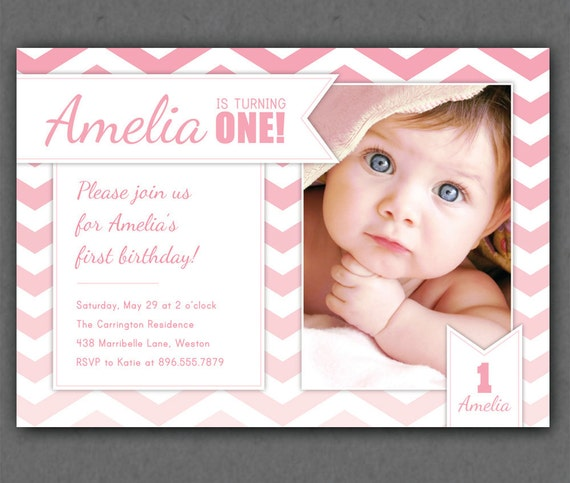 ... Invite - Pink - Turquoise - 1 Year Old or ANY Age - First Birthday