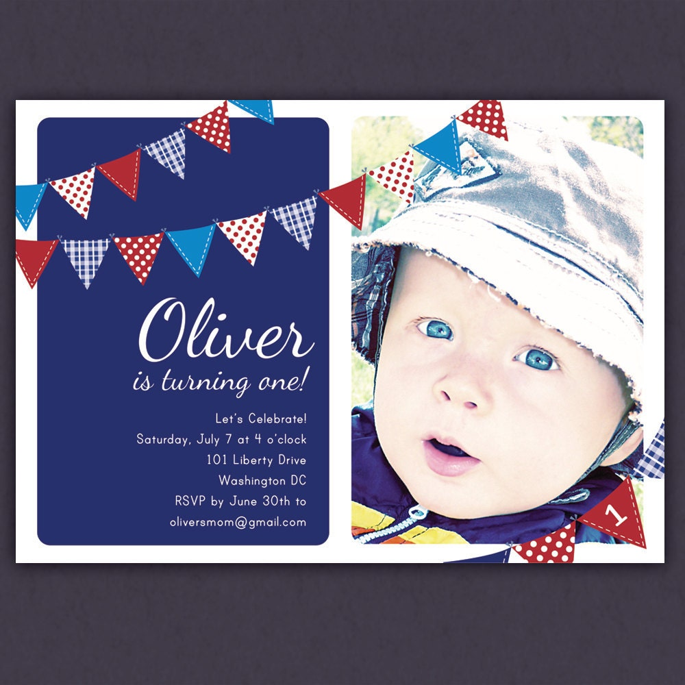 4th Of July Red White And Blue Birthday Invitation Bunting
