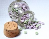 Mix of Lilac and Green on White Bead Spacers Springtime