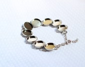 Silver Bracelet with Blank Bezels for Cabachon or Resin