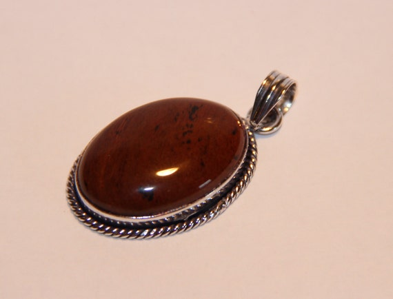 Mahogany Obsidian gemstone Pendant Sterling Silver Plated