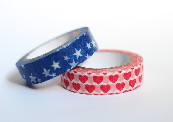 Set of Red White and Blue Washi Tape Scrapbooking Deco Tape Japanese