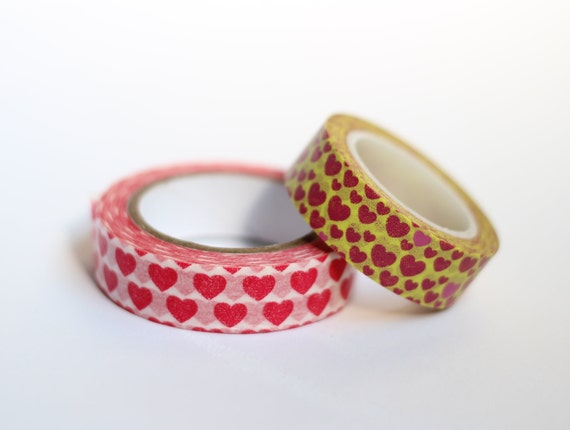Set of Red and Yellow Hearts Washi Tape Scrapbooking Deco Tape Japanese