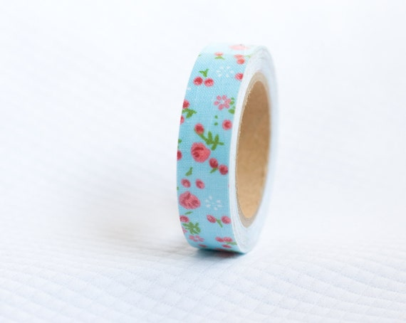 Lovely Robins Egg Blue with Red and Pink Flowers Fabric Tape