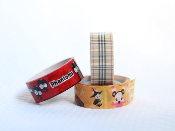 Set of 3 Whimsy Deco Tape Plaid Witch Phantoms Scrapbooking Washi Tape Japanese