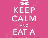 Keep Calm and Eat a S'more Poster 8x10 print (featured in rosy pink)-choose your color
