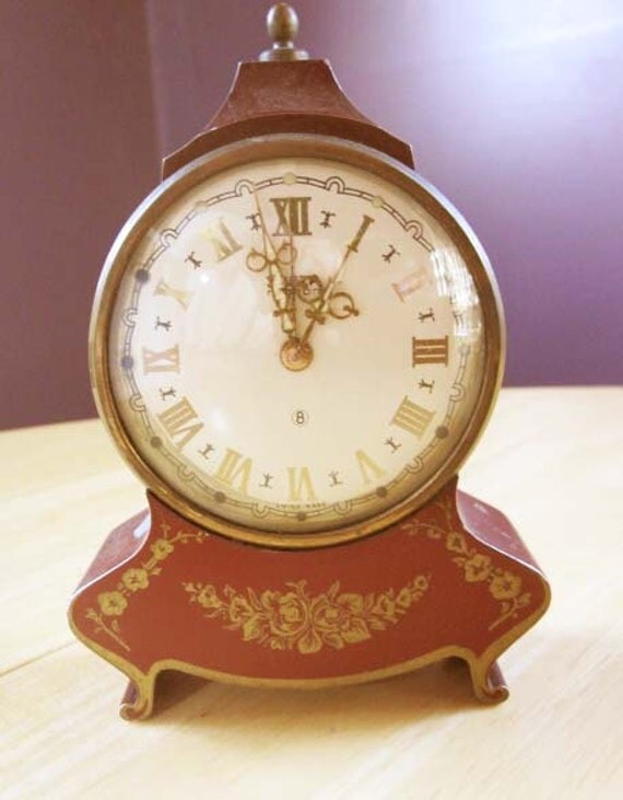 Swiza Mignon 'Swiss Made' Eight (8) Day Travel Alarm Clock with Dark Red Decorative Case - vintage