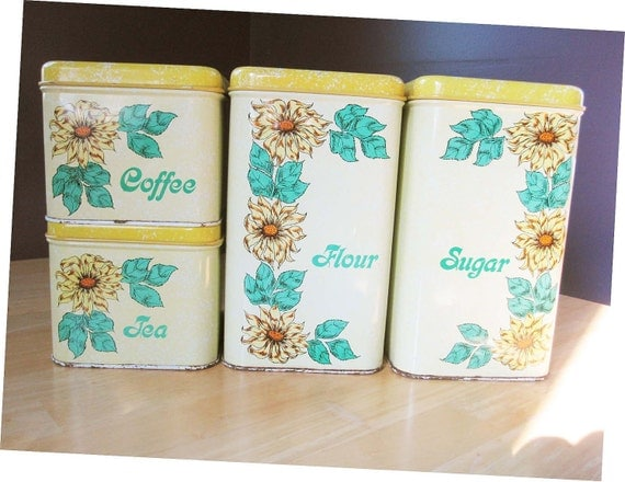 Complete Set of Metal Canisters Out of the '40s With Big Yellow Daisies and Spackled Yellow Lids