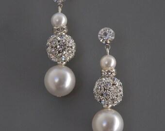 STELLA Bridal Jewelry Earrings Wedding-- Rhinestone Bead & Swarovski Pearl Bridal Earrings with Crystal Detail from Camilla Christine