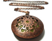 Solid Perfume Locket Copper Filigree Round Cutout Style 3