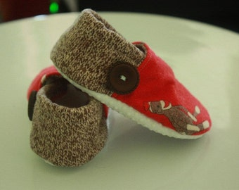 Funky Monkey Sock Monkey Booties Available in size 0-18 mo.