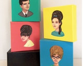 FOR BARBARAClass of 66',  original set of paintings of 1960's yearbook photos on a brightly painted canvas.