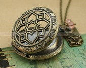 Archaize antique hollow pocket watch necklace with flower and crystal beads - vitage pocket watch locket necklace