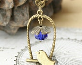 Vintage necklace - Personalized - Mother necklace - Lovely little bird and charm glass crystal beads necklace