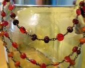 Czech Glass Red and Orange 3-Layered Fancy Choker Necklace