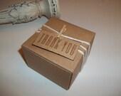 25 Wedding favor boxes 3x3x2 inch boxes monogrammed Kraft hand stamped vintage  Sale