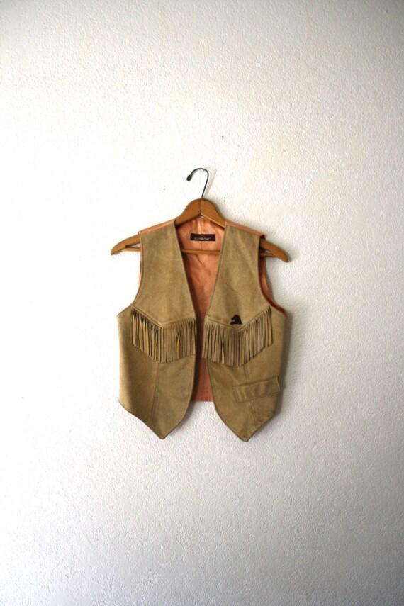 Vtg Leather Vest, Fringed Jordache