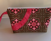 Brown with Pink and Green Geometric Flowers and Pink Pleated Smile Wristlet (Diaper/Wipes Wristlet)  FREE SHIPPING