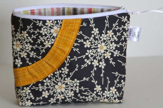 Gray and Yellow Large Zip Pouch with Yellow Pleated Smile