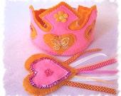 Princess Crown, Fairy Party, Tiara, Dress Up Princess, Fairy Wand, Pink Orange