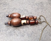 Wood Bead Earrings with Shell accents