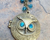 Beaded Owl Locket Necklace