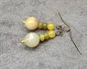 Yellow and White Jade Earrings