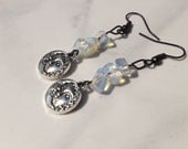 Moonstone Earrings with Sun & Moon Charm