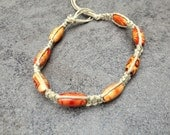 Hemp and Wood Bracelet- Red Brown, Natural Fiber, Uni-Sex