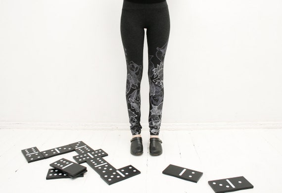 Domino effect- black and white fancy animal print  dark grey leggings