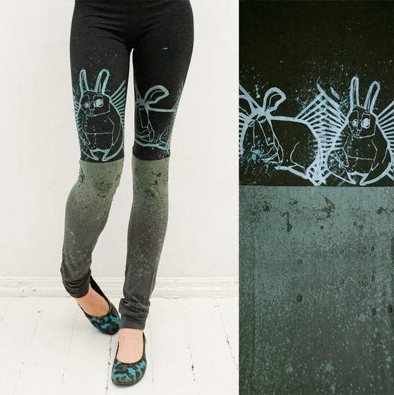 Midnight animal-  black and lichen green leggings