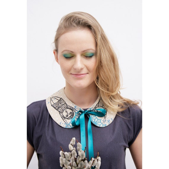 turquoise friends - woman's collar with tie