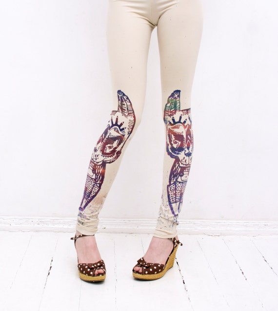 Beige leggings with colourful  tribal animal print