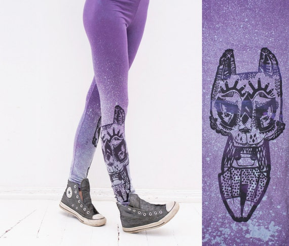 lilac  splatter leggings with black tribal animal print- size M