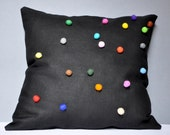Black Linen Pillow Case With Colorful Felt Balls 20x20 Inch White Black Brown Green Blue Violet Pink Red Orange Yellow