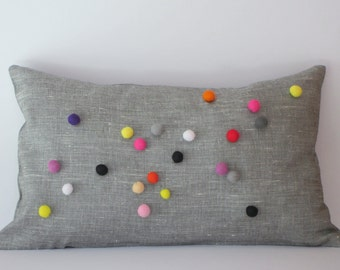tuliManna Gray Linen Pillow Case 12x20 Inch With Colourful Felt Balls Pink White Black Orange Violet Yellow Red