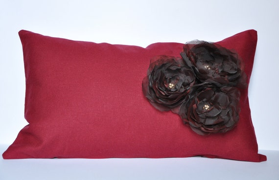 Dark Red Linen Pillow Case With Organza Fabric Flowers And Beads 12x20 Inch