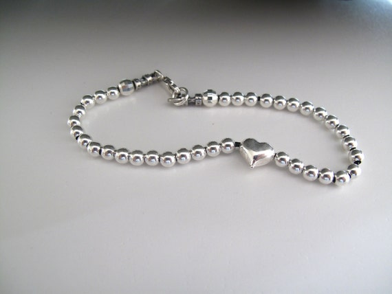 925 Sterling Silver beads and heart bracelet