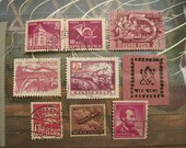 International Vintage Postage Stamps From Around the World -- Pink/Red Set of 9