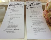 100 Food & Libations Double-Sided Menus / 100 Custom Printed Food and Drink Menu for your Wedding or Event