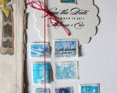 Second Aqua / Turquoise Blue Set: International Vintage Postage Stamps From Around the World - Qty 8