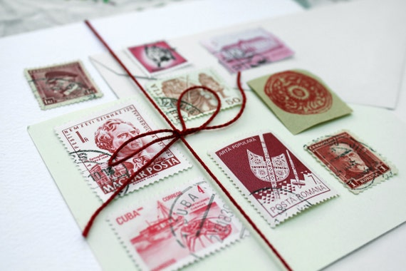 International Vintage Postage Stamps From Around the World -- Red Set of 9