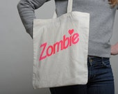 Tote Bag Zombie Natural / Neon pink