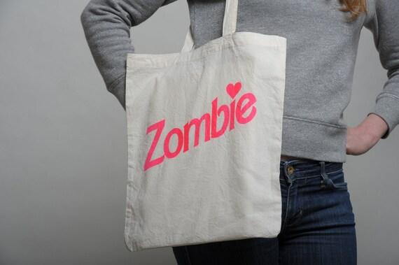 Tote Bag Zombie Natural / Neon pink