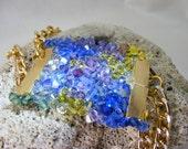 Majestic Ocean - Designer Swarovski Crystal Bracelet with Gold Chain.