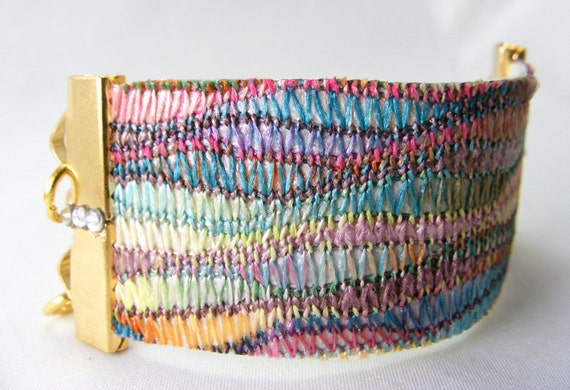 Missoni Fabric Bracelet with Gold Chain & Clear Crystals on Leather Band.