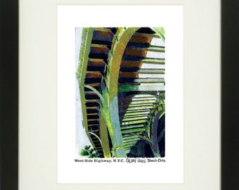 West Side Highway 1, New York City, With Frame of Choice, Matted, and Signed Art Print